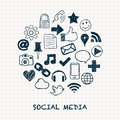 Social media icons in circle Royalty Free Stock Image
