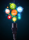 Social media icons coming out of electric cable glowing Royalty Free Stock Image