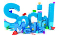 Social media icons d render Stock Photography