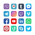 Social media icons. Inspired by facebook, instagram and viber, youtube. Popular media vector web network buttons