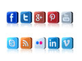 Social media icons with large pixel on white background Royalty Free Stock Photo