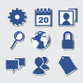 Social media icons over blue background vector illustration Stock Images