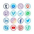 Social media icons. Popular media web social network vector buttons