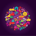 Social media icons on purple background Royalty Free Stock Images