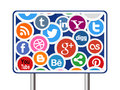 Social Media Icons on Road Sign