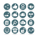 Social media icons round buttons set of and network Royalty Free Stock Photos