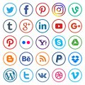 Social media icons rounded line and colorful Royalty Free Stock Photo
