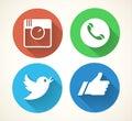 Social media icons set. Colorfull network symbols isolated on white background Royalty Free Stock Photo