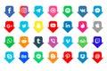 Social media icons set. Facebook, twitter, instagram, youtube, snapchat, pinterest, whatsap, vk, viber, Google, skype. Collection