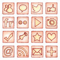 Social media icons set of hand drawn buttons Stock Image