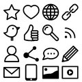 Social media icons set of simple black Stock Images