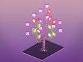 Social media icons set in tree shape on Modern black tablet pc