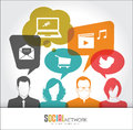 Social media icons in speech bubbles with group of people Royalty Free Stock Photo
