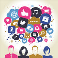 Social media icons in speech bubbles with group of people Stock Photo