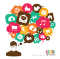 Social media icons speech bubbles with a young men Royalty Free Stock Photography