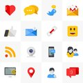 Social media icons vector set of modern flat and colorful design elements for web and mobile applications Royalty Free Stock Photo