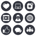 Social media icons. Video, share and chat signs Royalty Free Stock Photo