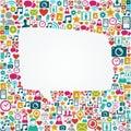Social media icons white speech bubble shape EPS10 Royalty Free Stock Photo