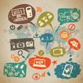 Social media infographics set with communication icons Royalty Free Stock Photography