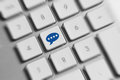 Social media key button on a keyboard showing the chat icon Royalty Free Stock Photo