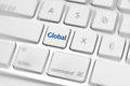 Social media key button on a keyboard showing the global icon Stock Images