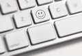 Social media key button on a keyboard showing the smile icon Stock Photography