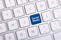 Social media key photo of button on the white keyboard Royalty Free Stock Photo