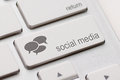 Social media keyboard button on a with speech bubbles Royalty Free Stock Image