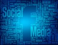 Social media keywords forming the facebook logo on the negative space on a blue background Royalty Free Stock Images