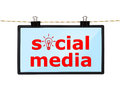Social media lcd tv screen with hanging on a rope Royalty Free Stock Photos