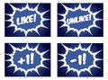 Social media like dislike plus one pop art buttons minus style illustration Royalty Free Stock Photo
