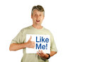 The social media Like Me Man (PNG file available) Royalty Free Stock Photography