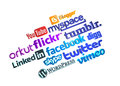 Social media logos (3d) Royalty Free Stock Photo