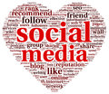 Social media love conept in word tag cloud concept of think bubble Stock Photo