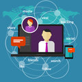 Social media manager management administrator concept communication online world map laptop screen device phone