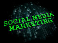 Social media marketing business concept the words in light green color on dark digital background Stock Image