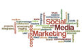 Social media marketing concept background word cloud on white Royalty Free Stock Photos