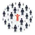 Social media marketing network connection with people pictograms Stock Images