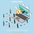 Social media marketing online promotion flat d web isometric infographic technology concept hand loudspeaker sticks big laptop Stock Photos