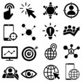 Social Media Marketing simple concept icons vector set. Contains such symbols as User Engagement. Followers sign, Call To Action,