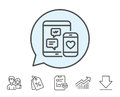 Social media messages line icon. Mobile devices.