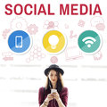 Social Media Mobile Lightbulb Wifi Concept Royalty Free Stock Photo