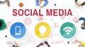 Social Media Mobile Lightbulb Wifi Concept Royalty Free Stock Photo