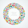 Social media network icons circle composition eps colorful round shape vector file organized in layers for easy editing Royalty Free Stock Image