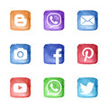 Social media network icons set Royalty Free Stock Photo