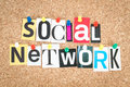 Social media network pinned on cork bulletin board Royalty Free Stock Images