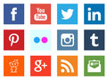 Social media networking square icons Royalty Free Stock Photo
