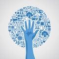 Sociální média sítě ruka strom