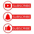 Social media notification icons. Flat design.Subscribe button, message bell icon, like icon button.