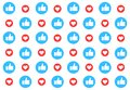 Social media pattern background with likes. Thumbs up and hearts. Vector illustration design